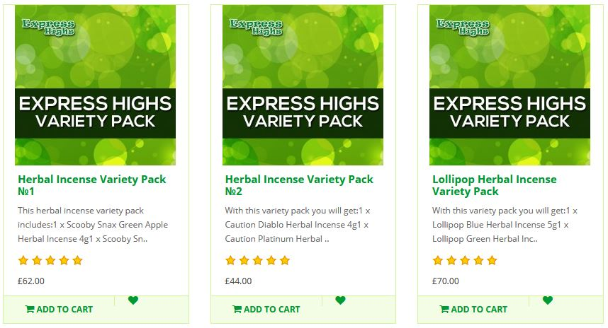 Buy Legal Highs - Herbal Incense Variety Packs - From Express Highs